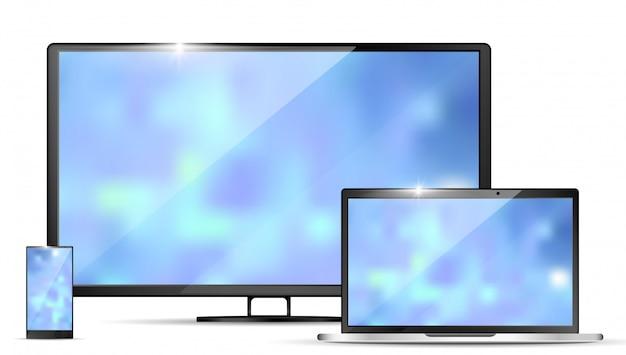 Nowoczesny realistyczny telewizor, laptop i smartfon Premium Wektorów