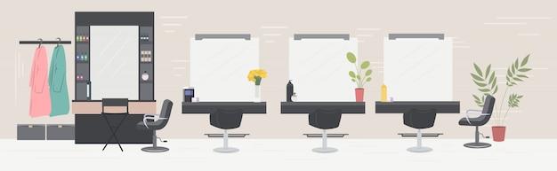 Nowoczesny Salon Fryzjerski Z Krzesłami Lustra I Meble Salon Piękności Wnętrze Poziome Premium Wektorów
