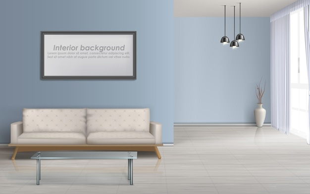 Nowoczesny salon minimalistyczny design przestronne wnętrze realistyczne wektor makieta z podłogą laminowaną Darmowych Wektorów