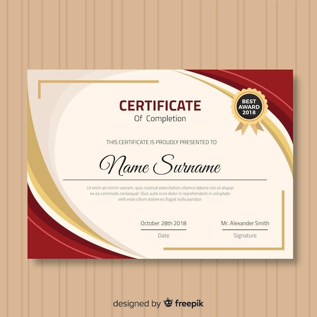 Nowoczesny szablon certyfikatu z płaskiej konstrukcji Darmowych Wektorów