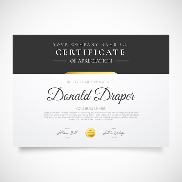 Nowoczesny szablon certyfikatu Darmowych Wektorów