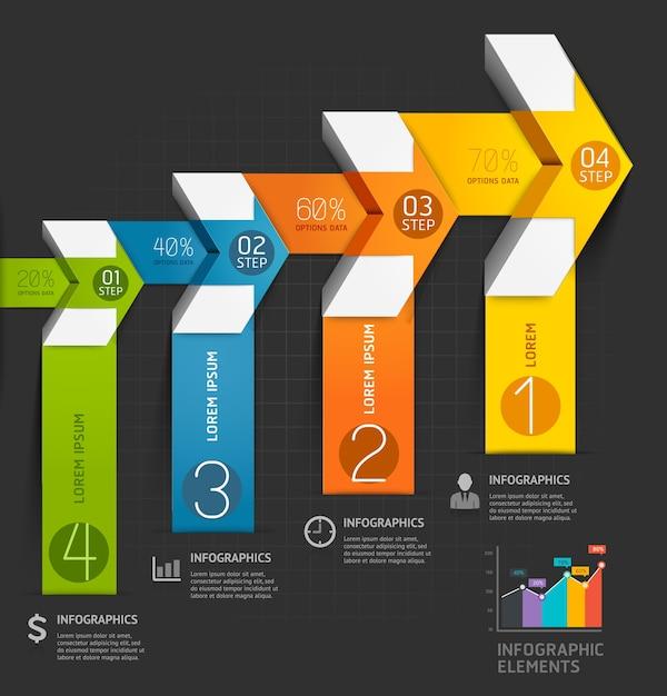 Nowoczesny Szablon Infografiki Strzałka. Premium Wektorów