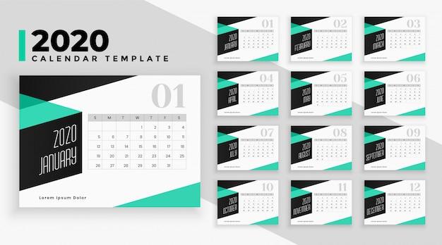 Nowoczesny szablon kalendarza 2020 w stylu geometrycznym Darmowych Wektorów