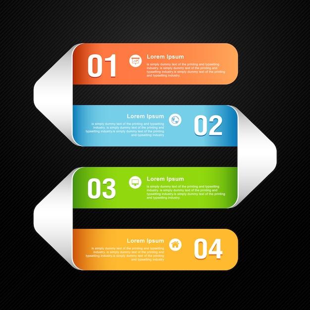 Nowoczesny Szablon Kolorowy Numerowany Baner Premium Wektorów