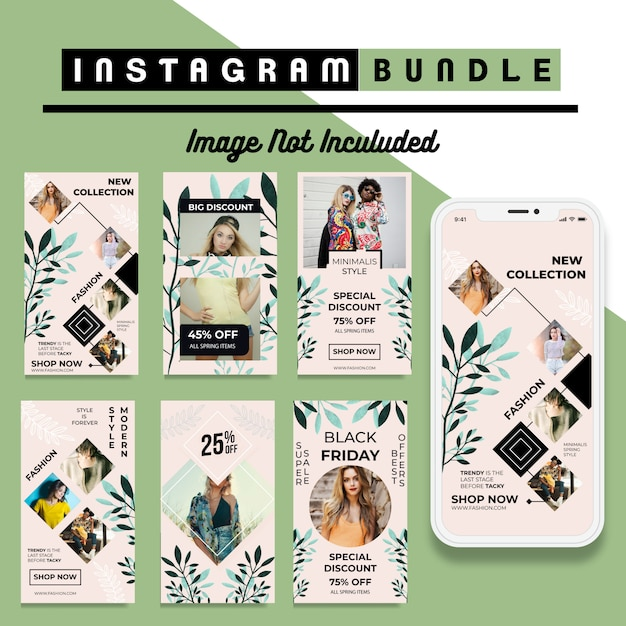 Nowoczesny szablon mody story na instagramie Premium Wektorów