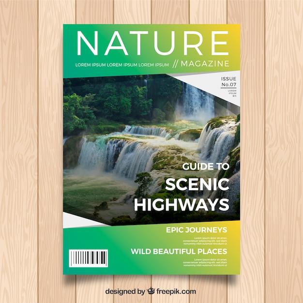 Nowoczesny Szablon Okładki Magazynu Natura Ze Zdjęciem Darmowych Wektorów