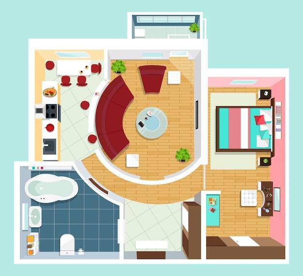 Nowoczesny Szczegółowy Plan Mieszkania Z Meblami. Widok Z Góry Mieszkania. Płaska Projekcja Wektorowa. Premium Wektorów