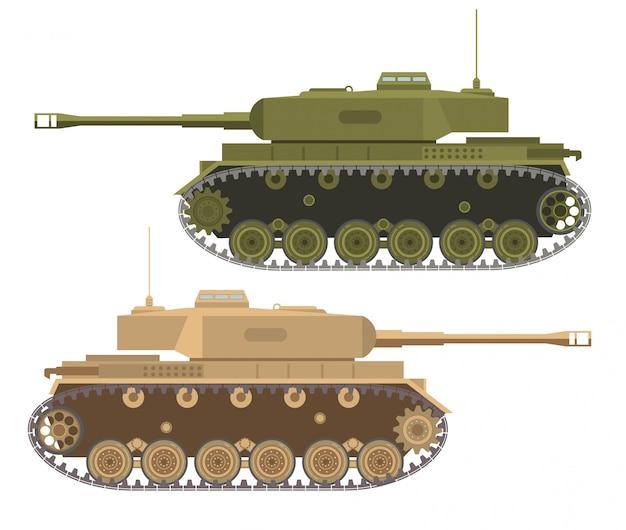 Nowoczesny Wojskowy Wojskowy Ciężki Amerykański Czołg Na Pustyni I Latem W Kamuflażu. Premium Wektorów