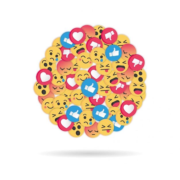 Nowoczesny Wzór Emoji Na Białym Tle Premium Wektorów