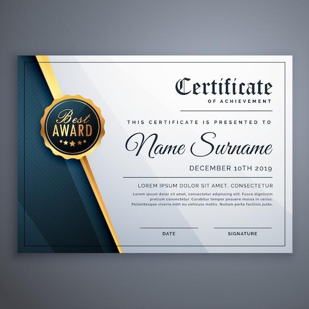 Nowoczesny wzór szablonu certyfikatu Premium nagroda Darmowych Wektorów