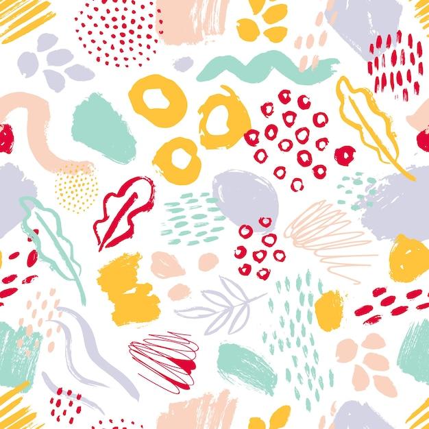 Nowoczesny Wzór Z Kolorowych Ręcznie Malowanych Kółek, Rozmazy, Plamy Na Białym Tle Premium Wektorów