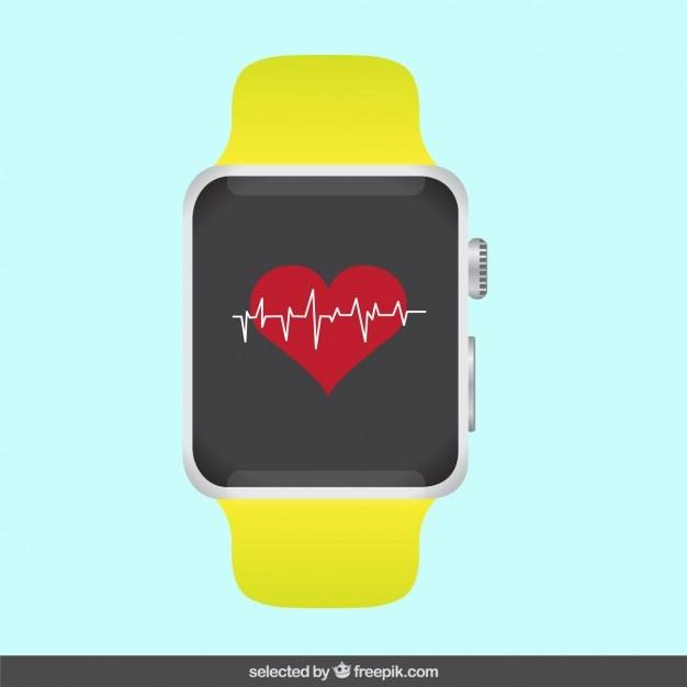Nowoczesny Zegarek Z Elektrokardiogram Darmowych Wektorów