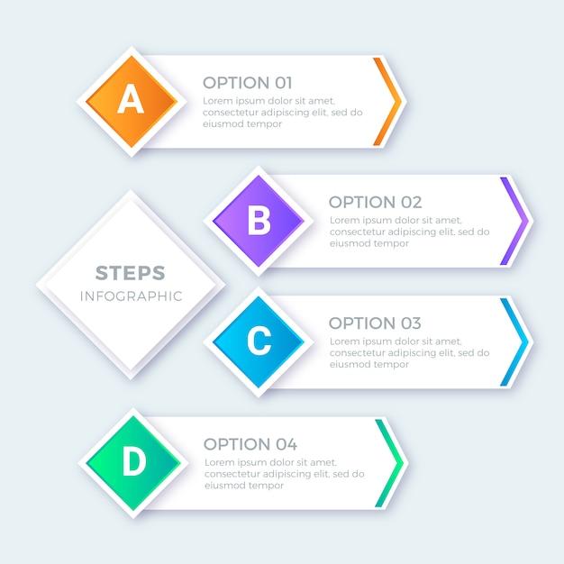 Nowoczesny zestaw kolorowych kroków infografiki Darmowych Wektorów