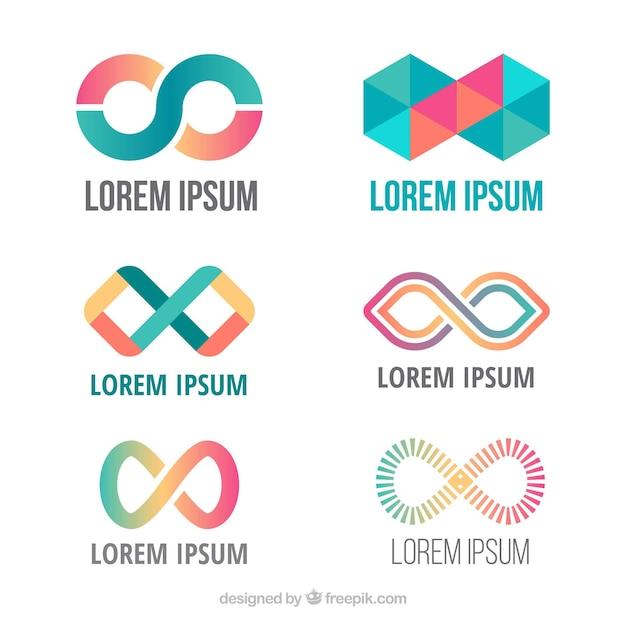 Nowoczesny Zestaw Kolorowych Nieskończoności Symboli Darmowych Wektorów