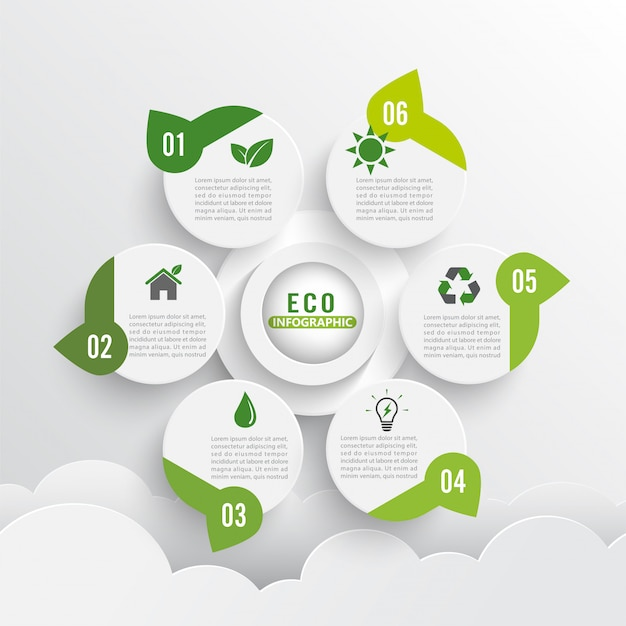 Nowoczesny zielony ekologia układ infografiki 6 opcji. Premium Wektorów