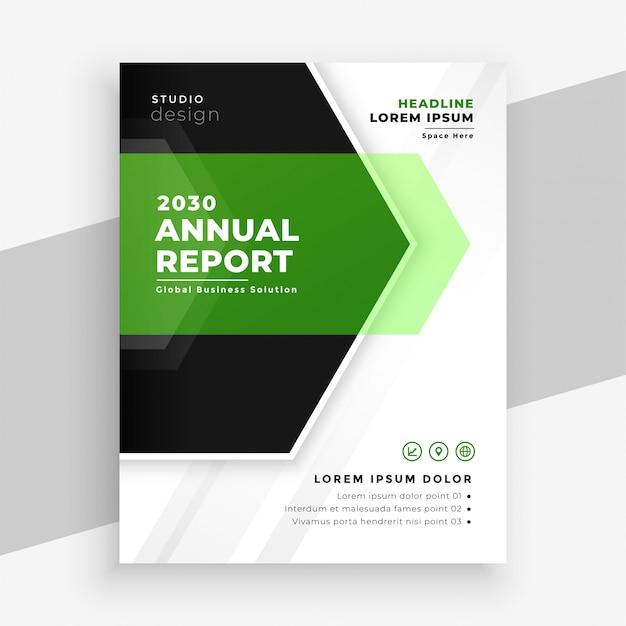 Nowoczesny Zielony Roczny Raport Biznes Szablon Ulotki Darmowych Wektorów