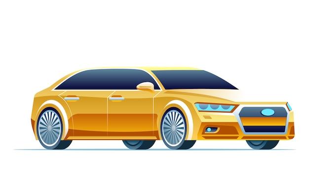 Nowoczesny żółty Samochód Premium Wektorów