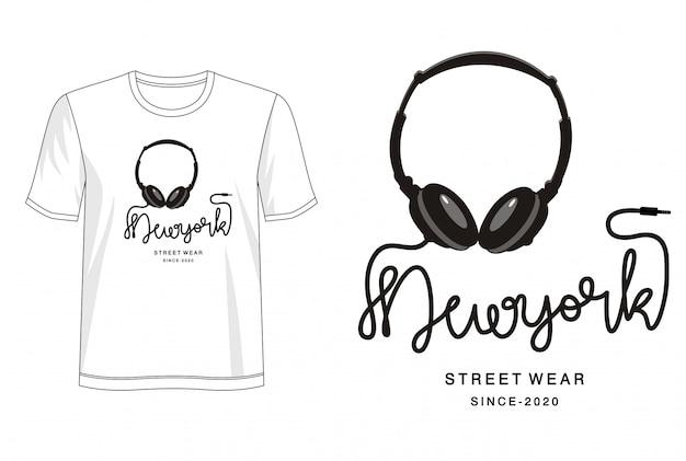 Nowojorska Typografia Do Koszulki Z Nadrukiem Premium Wektorów