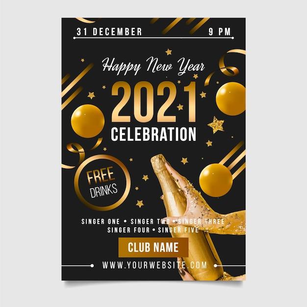 Noworoczna Ulotka Imprezowa 2021 Z Balonami I Szampanem Darmowych Wektorów