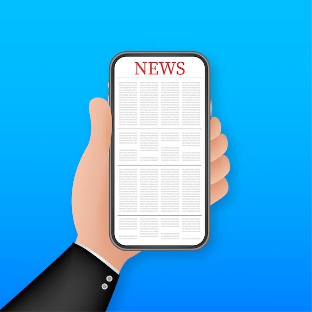 Nowości W Smartfonie Na Stronie. Smartfon, Telefon Komórkowy. Wiadomości Z Czytania Online. Ilustracja. Premium Wektorów