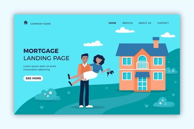 Nowożeńcy I Nowa Strona Docelowa Kredytów Hipotecznych Na Dom Darmowych Wektorów