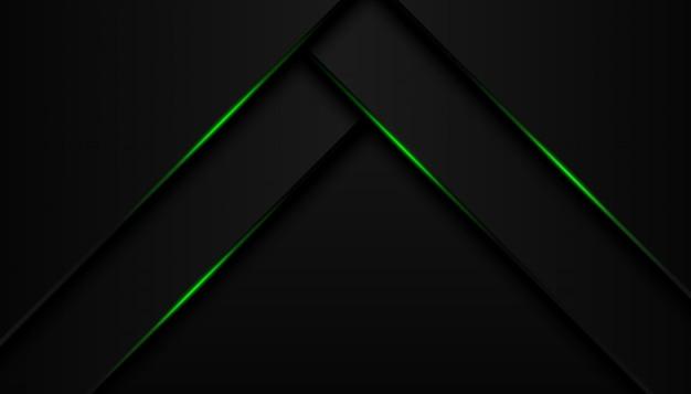 Nowożytna 3d geometria kształtuje czarne linie z zielonymi granicami na ciemnym tle Premium Wektorów