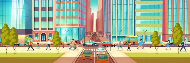 Nowożytna miasto ulica przy godziny pośpiechu kreskówki wektoru pojęciem. ludzie spieszący się w biznesie, chodzący po mieście chodnik, przechodnie przechodzący przez skrzyżowania, samochody jeżdżą po drogach, utknęli w korku. Darmowych Wektorów