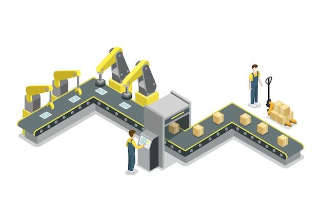 Nowożytna Pasowa Linii Produkcyjnej Isometric Ilustracja Premium Wektorów