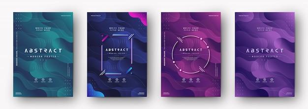 Nowożytna plakat pokrywa z gradientową abstrakcjonistyczną teksturą Premium Wektorów