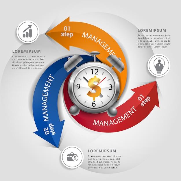 Nowożytna strzała z pieniądze czasu pojęciem infographic. Premium Wektorów