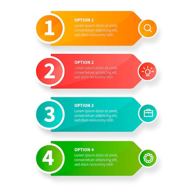 Nowożytni biznesowi infographic kroki z biznesowymi ikonami Darmowych Wektorów