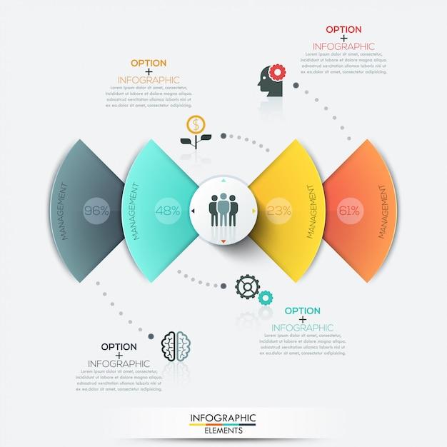 Nowożytni okręgu biznesu infographics elementy Premium Wektorów