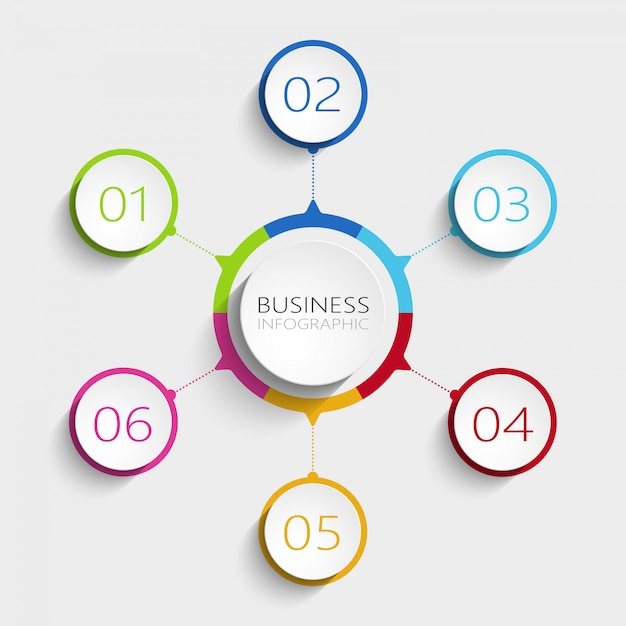 Nowożytny abstrakta 3d infographic szablon z 6 krokami. Premium Wektorów