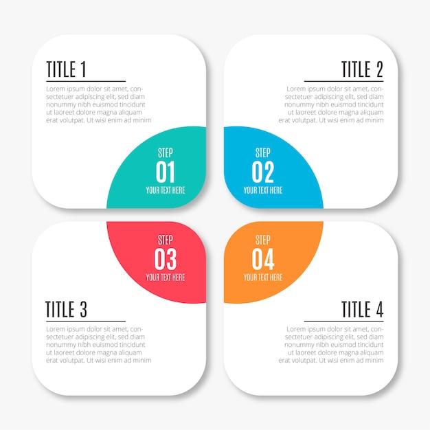 Nowożytny biznesowy infographic z kolorowymi krokami Darmowych Wektorów