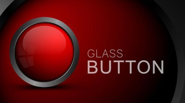Nowożytny czerwony guzik odizolowywający na czerwieni Premium Wektorów