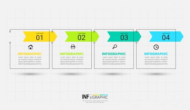 Nowożytny infographic szablon z konturu pojęciem. Premium Wektorów