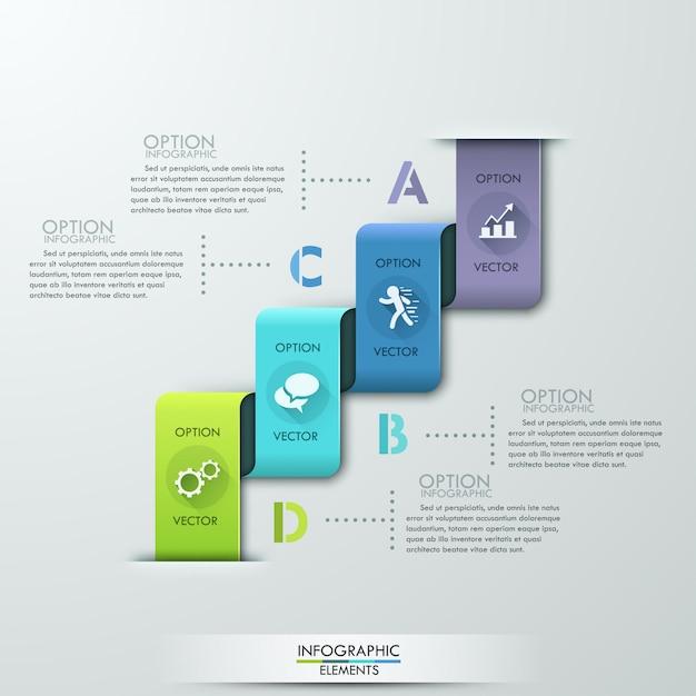 Nowożytny papierowy stylowy infographic opcja sztandar Premium Wektorów