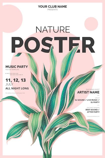 Nowożytny Plakatowy Szablon Z Botaniczną Ilustracją Darmowych Wektorów