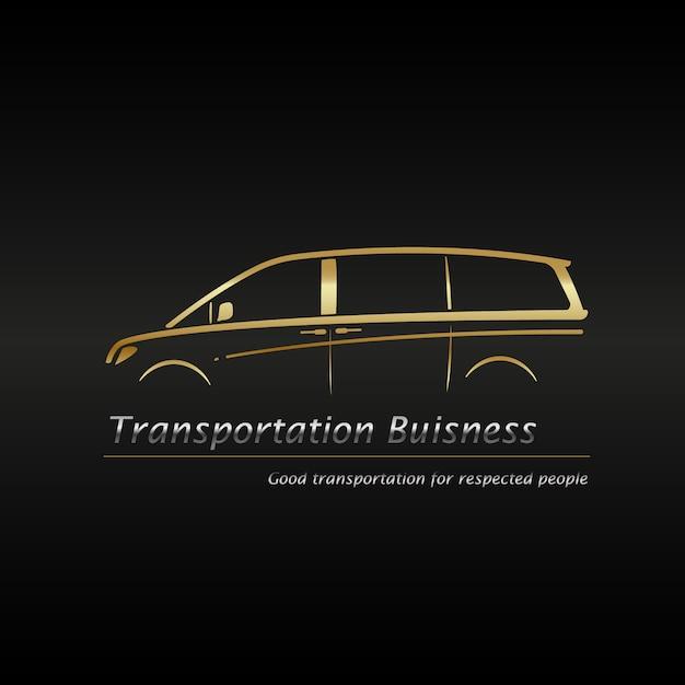 Nowożytny złocisty minivan w czarnym tła biznesowym logu. Premium Wektorów