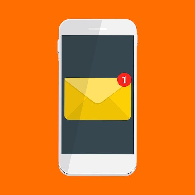 Nowy E-mail Dotyczący Koncepcji Powiadomień Na Ekranie Smartfona. Ilustracja Premium Wektorów