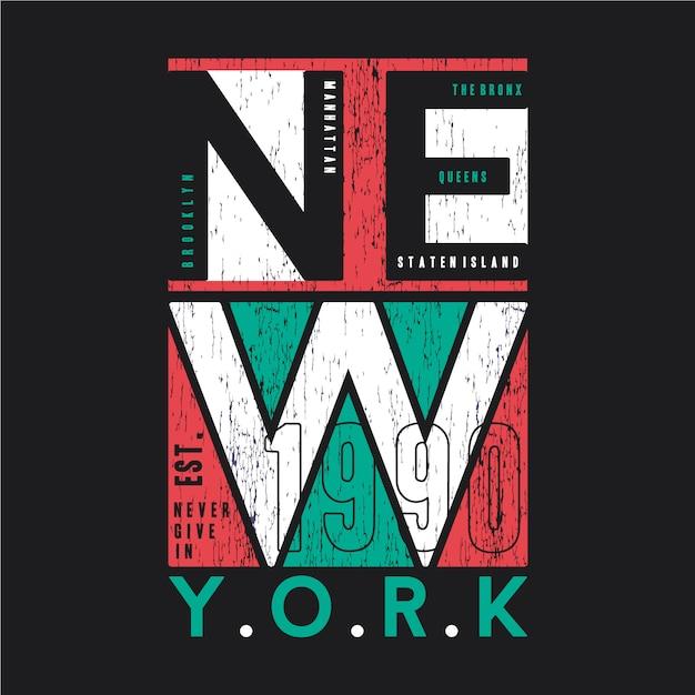 Nowy Jork Streszczenie Graficzny T Shirt Typografia Projekt Ilustracji Wektorowych Premium Wektorów
