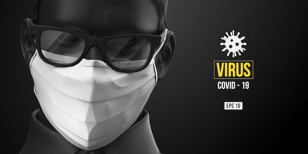 Nowy Koronawirus. Mężczyzna W Czarnym Kolorze W Białej Masce Na Czarnym Tle. Maska Medyczna I Ochrona Przed Wirusami. Premium Wektorów