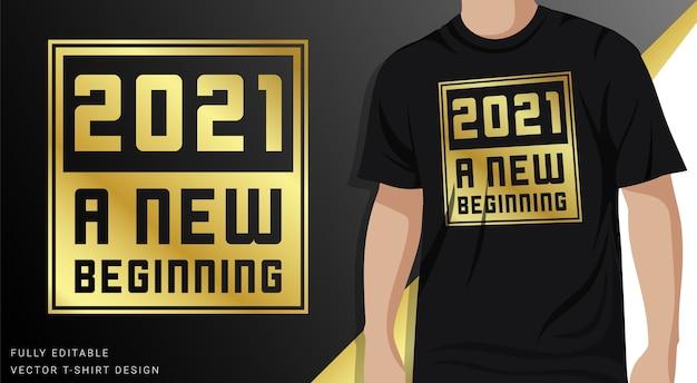 Nowy Początek, Projekt Koszulki W Złotym Kolorze Premium Wektorów
