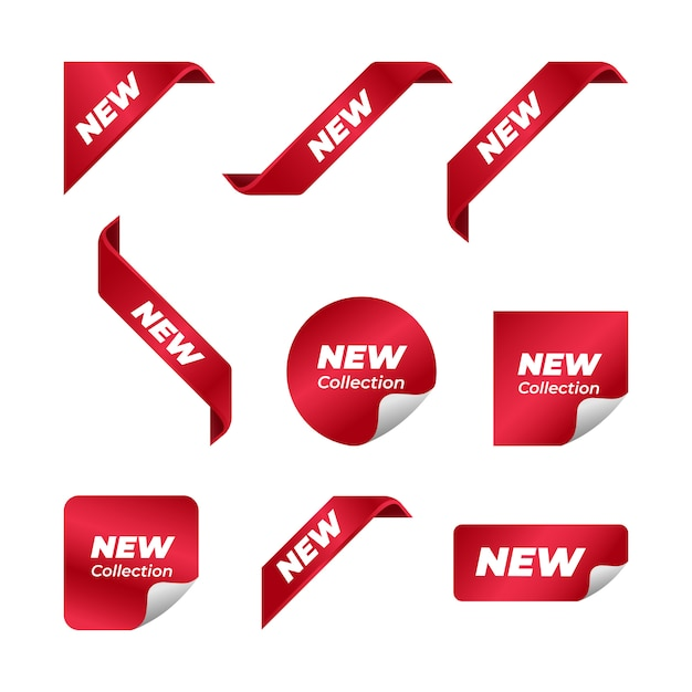 Nowy Projekt Wektor Wstążka Rogu Premium Wektorów