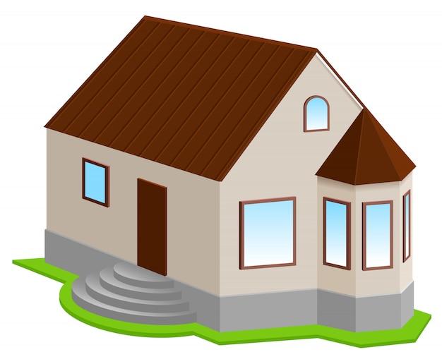 Nowy Prywatny Dom 3d Z Wykuszem Premium Wektorów