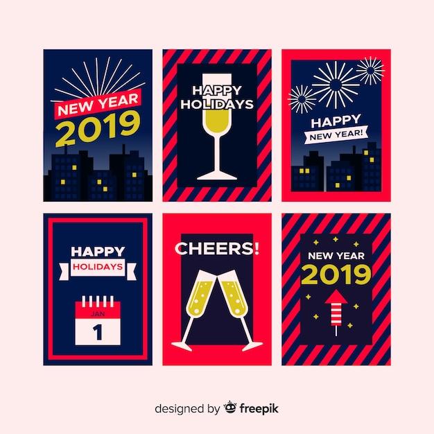 Nowy rok 2019 kart Darmowych Wektorów