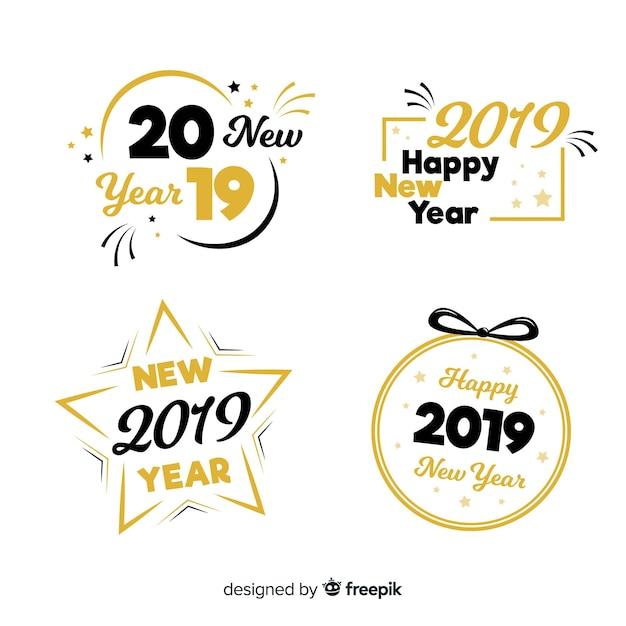 Nowy rok 2019 kolekcji etykiet i odznak Darmowych Wektorów