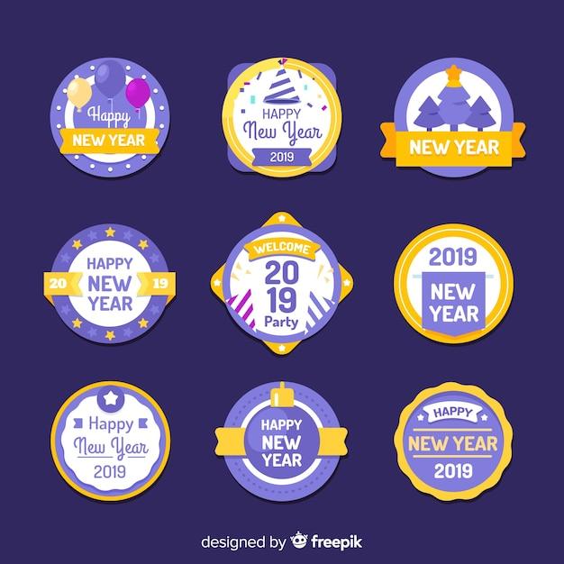 Nowy rok 2019 zestaw etykiet Darmowych Wektorów