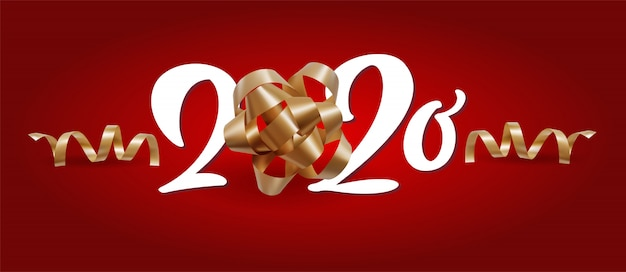 Nowy Rok 2020 Biała Liczba I świąteczne świąteczne Spiralne Wstążki Na Czerwonym Tle Premium Wektorów