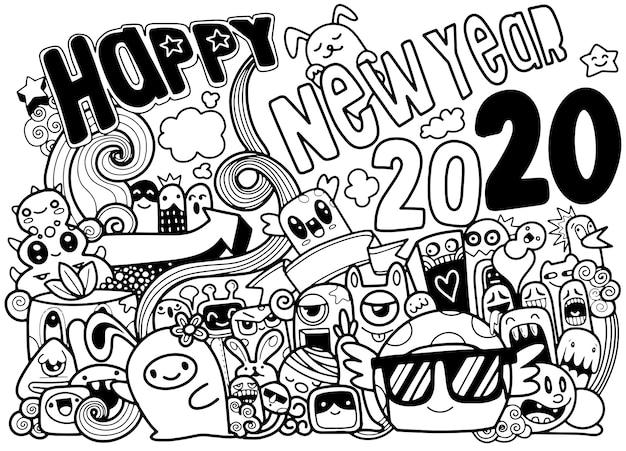 Nowy rok 2020 doodle hipster kartkę z życzeniami, grupa uroczych i uroczych kreskówek wyśmiewa Premium Wektorów